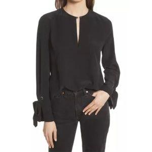 Equipment Black Sayer Tie Sleeve Silk Top NWT